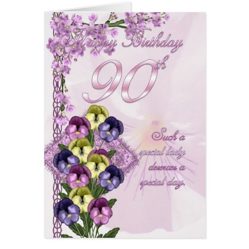 90th Birthday Card For A Special Lady Zazzle