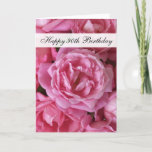 "90th Birthday Card - Roses for 90 Year<br><div class=""desc"">This lovely 90th birthday card features stunning antique roses in a gorgeous pink color on the front, along with the words ""Happy 90th Birthday."" Inside is a birthday sentiment written in larger print so the birthday gal is able to read it. These are pretty cards for wishing a 90 year...</div>"