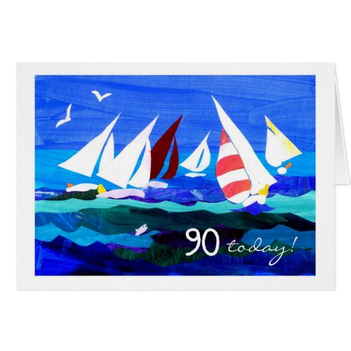 90th Birthday Card - Sailing