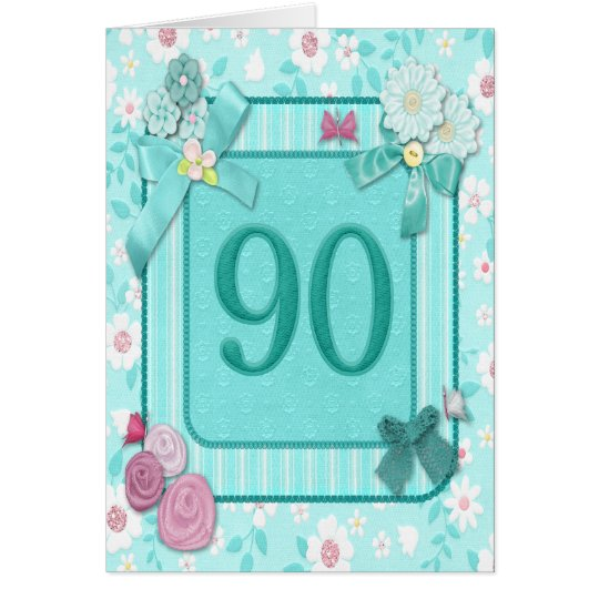 90th birthday card with flowers