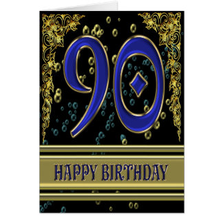 90th birthday card with gold and bubbles