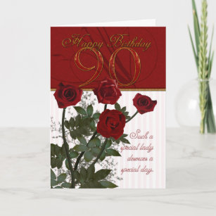 90th birthday cards zazzle 90th birthday card with roses m4hsunfo