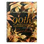 90th Birthday Celebration Autumn Custom Guest Book Spiral Notebook