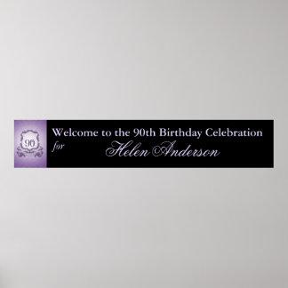 90th Birthday Celebration Custom Banner 60x11 Poster
