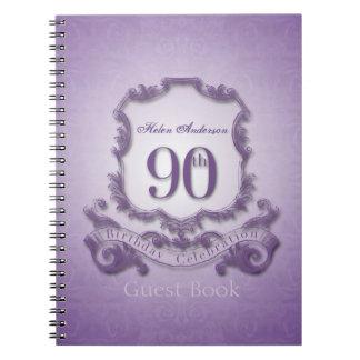 90th Birthday Celebration Custom Framed Guest Book Spiral Notebook