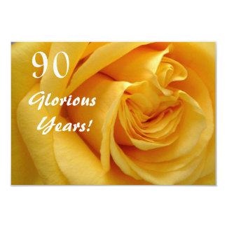 90th Birthday Celebration/DeepYellow Rose Custom Announcements
