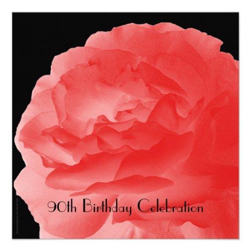 90th Birthday Celebration Invitation Coral Rose