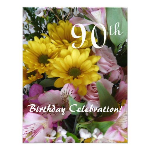 90th Birthday Celebration!-Party/Floral Bouquet Custom Invitations