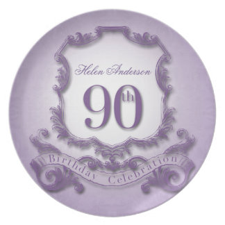 90th Birthday Celebration Personalized Dinner Plate