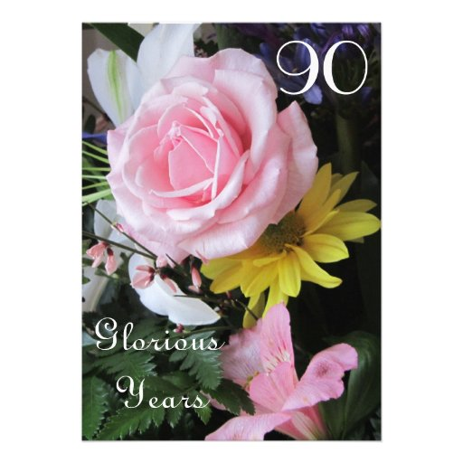 90th Birthday Celebration!-Pink Rose Bouquet Personalized Announcement
