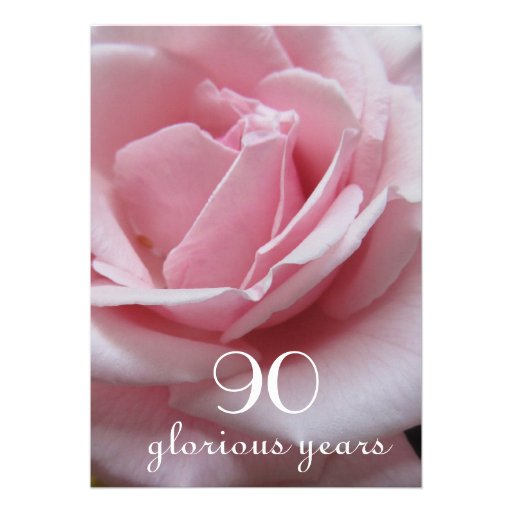 90th Birthday Celebration!-Pretty Pink Rose Invites