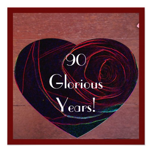 90th Birthday Celebration-Red Rose Heart Custom Announcement