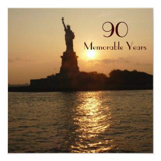 90th Birthday Celebration/Statue of Liberty Sunset Card