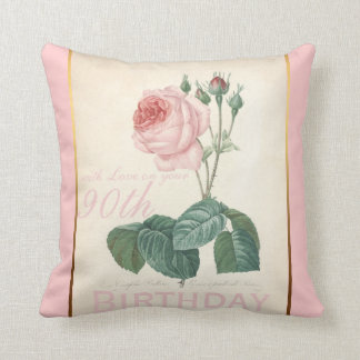 90th Birthday Celebration Vintage Rose Pillow