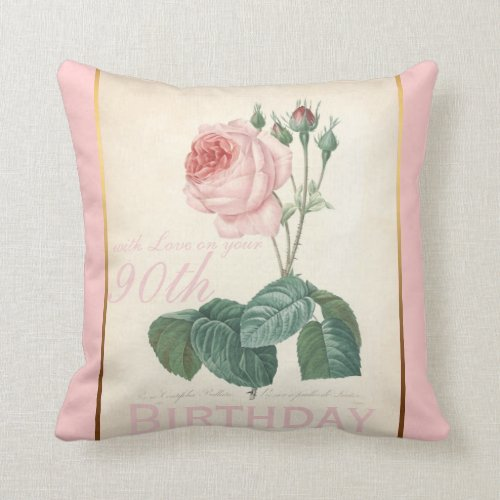 90th Birthday Celebration Vintage Rose Pillow