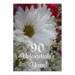90th Birthday Celebration/White Daisy Bouqet Personalized Announcements