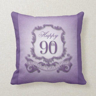 90th Birthday Celebration with Message (back) Throw Pillows
