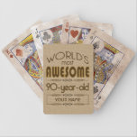 """90th Birthday Celebration World Best Fabulous Bicycle Playing Cards<br><div class=""""desc"""">Celebrate the milestone birthday of your favorite senior citizen with this fun gift reminding them of how fabulous they are. Customize with names,  initials or other text.</div>"""