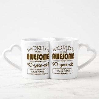 90th Birthday Celebration World Best Fabulous Coffee Mug Set