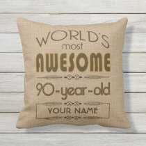 90th Birthday Celebration World Best Fabulous Outdoor Pillow