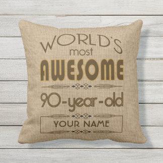 90th Birthday Celebration World Best Fabulous Outdoor Pillow