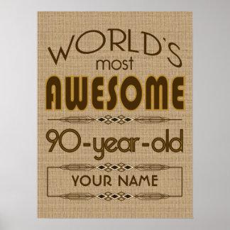 90th Birthday Celebration World Best Fabulous Poster