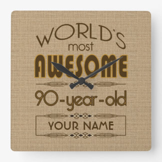 90th Birthday Celebration World Best Fabulous Square Wall Clock