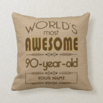 90th Birthday Celebration World Best Fabulous Throw Pillow