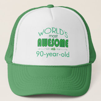 90th Birthday Celebration World's Best in Green Trucker Hat
