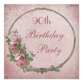 90th Birthday Chic Vintage Roses Damask Card