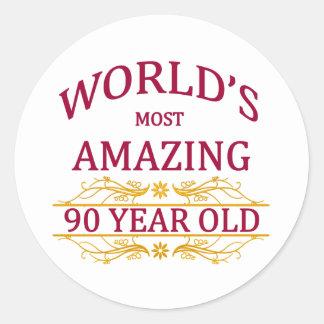 90th. Birthday Classic Round Sticker