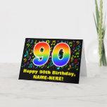[ Thumbnail: 90th Birthday: Colorful Music Symbols & Rainbow 90 Card ]