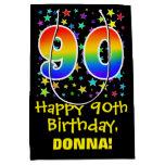 [ Thumbnail: 90th Birthday: Colorful Stars Pattern & Rainbow 90 Gift Bag ]
