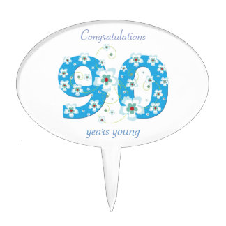 90th birthday congratulations blue flowers custom cake topper