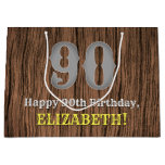[ Thumbnail: 90th Birthday: Country Western Inspired Look, Name Gift Bag ]