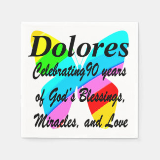 90TH BIRTHDAY CUSTOM COLORFUL BUTTERFLY NAPKINS