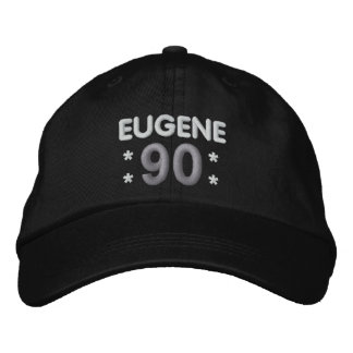 90th Birthday Custom Name BLACK WHITE SILVER H90E Baseball Cap