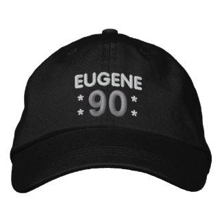 90th Birthday Custom Name BLACK WHITE SILVER H90E Embroidered Baseball Cap