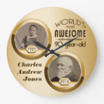 90th Birthday Customized Then Now Gold Photo Frame Wall Clocks