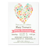 90th Birthday, Cute Floral Heart Birthday Party Card