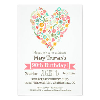 90th Birthday, Cute Floral Heart Birthday Party 5x7 Paper Invitation Card