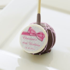 90th Birthday Damask and Faux Bow Cake Pops