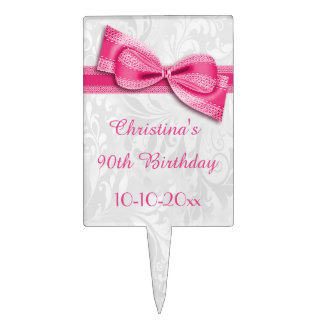 90th Birthday Damask and Faux Bow Cake Topper