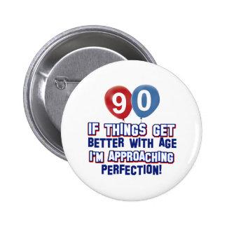 90th birthday designs pinback button