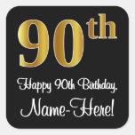 [ Thumbnail: 90th Birthday - Elegant Luxurious Faux Gold Look # Sticker ]