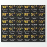 [ Thumbnail: 90th Birthday: Elegant Luxurious Faux Gold Look # Wrapping Paper ]