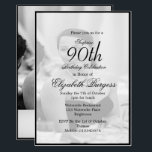 "90th Birthday Elegant Photo Monogram Birthday Invitation<br><div class=""desc"">A 90th Birthday Elegant Personal Monogram Birthday Invitation in Black and White. The age can be changed for any age .not just 90. A photo is able to be on the front and the reverse of the personal invitation. The information is easily changed to your own custom information with the...</div>"
