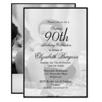 90th Birthday Elegant Photo Monogram 40th Invitations
