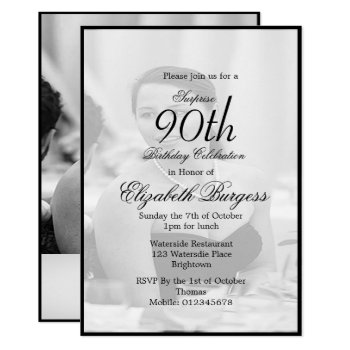 90th Birthday Elegant Photo Monogram Invitation