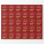 [ Thumbnail: 90th Birthday: Elegant, Red, Faux Gold Look Wrapping Paper ]